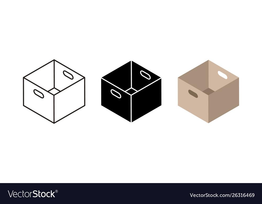 Carton box icons flat black and linear cardboard