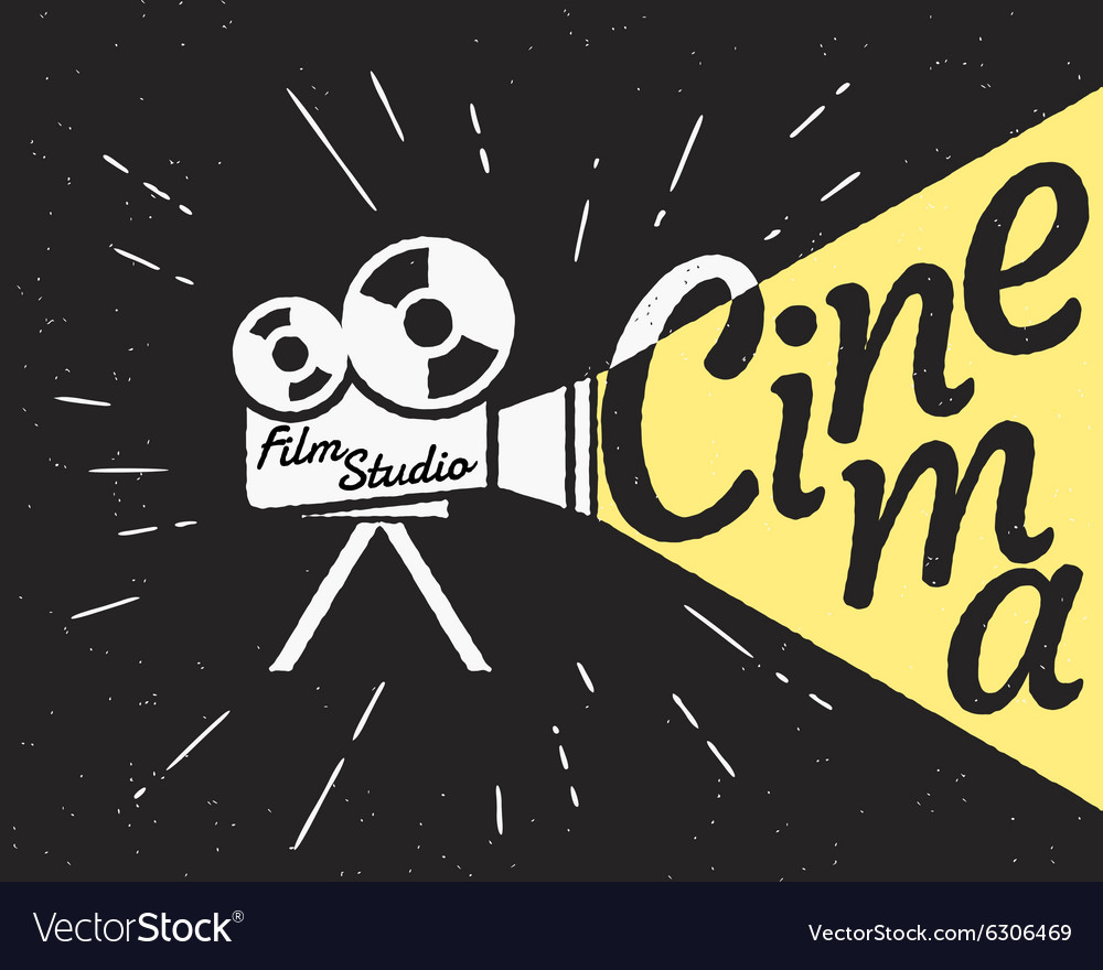Cinema projector with yellow light hipster