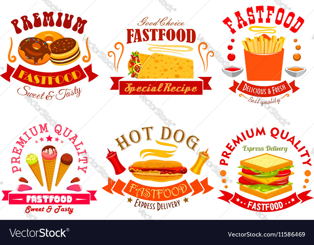 Fast food menu icons labels emblems set