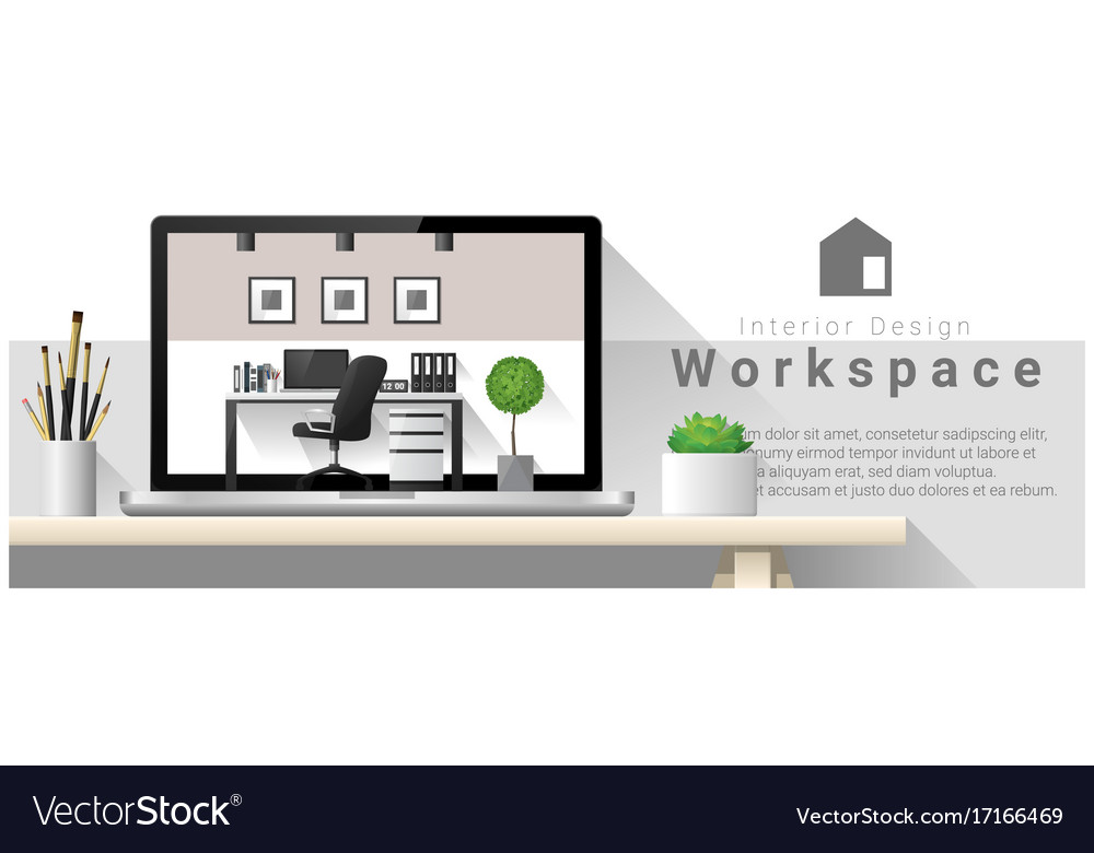 Interior design of modern office workplace