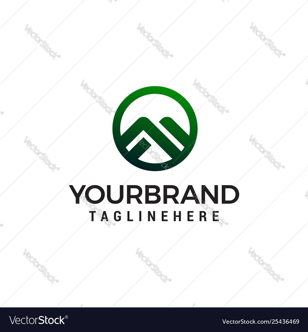 Letter m mountain circle logo design concept