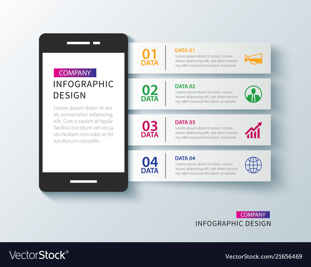 Mobile phone infographic with 4 data template