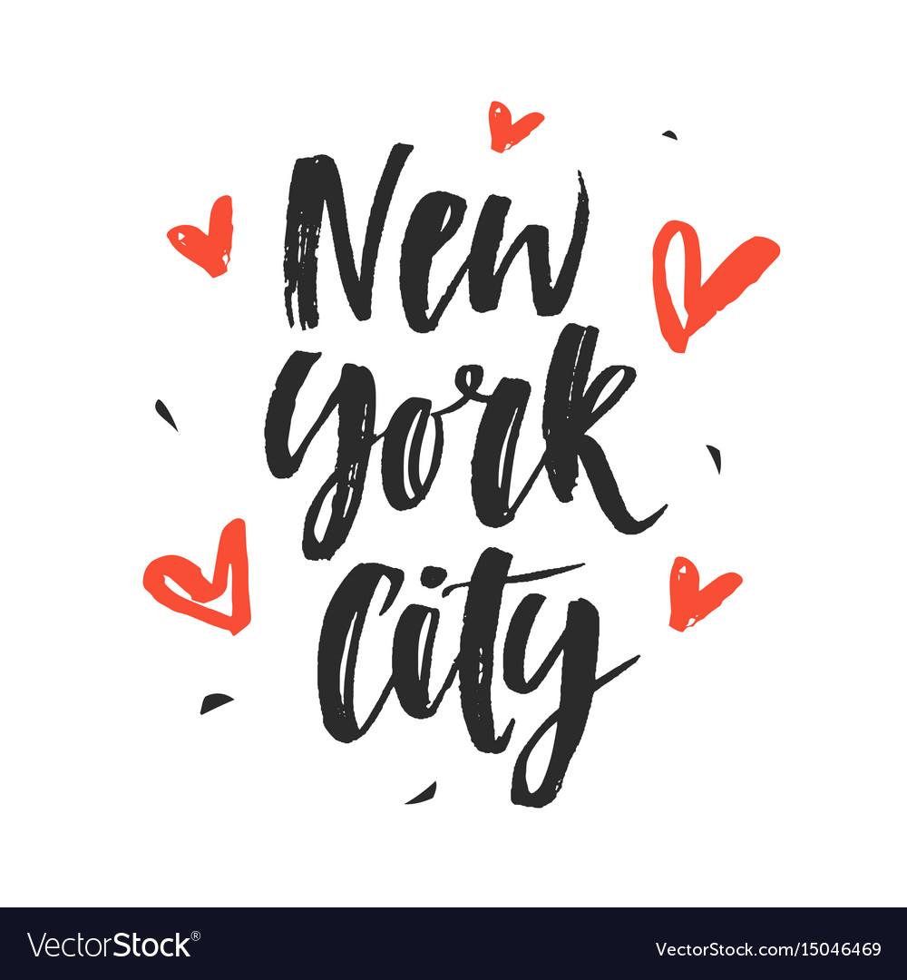 New york city modern hand written brush lettering vector image