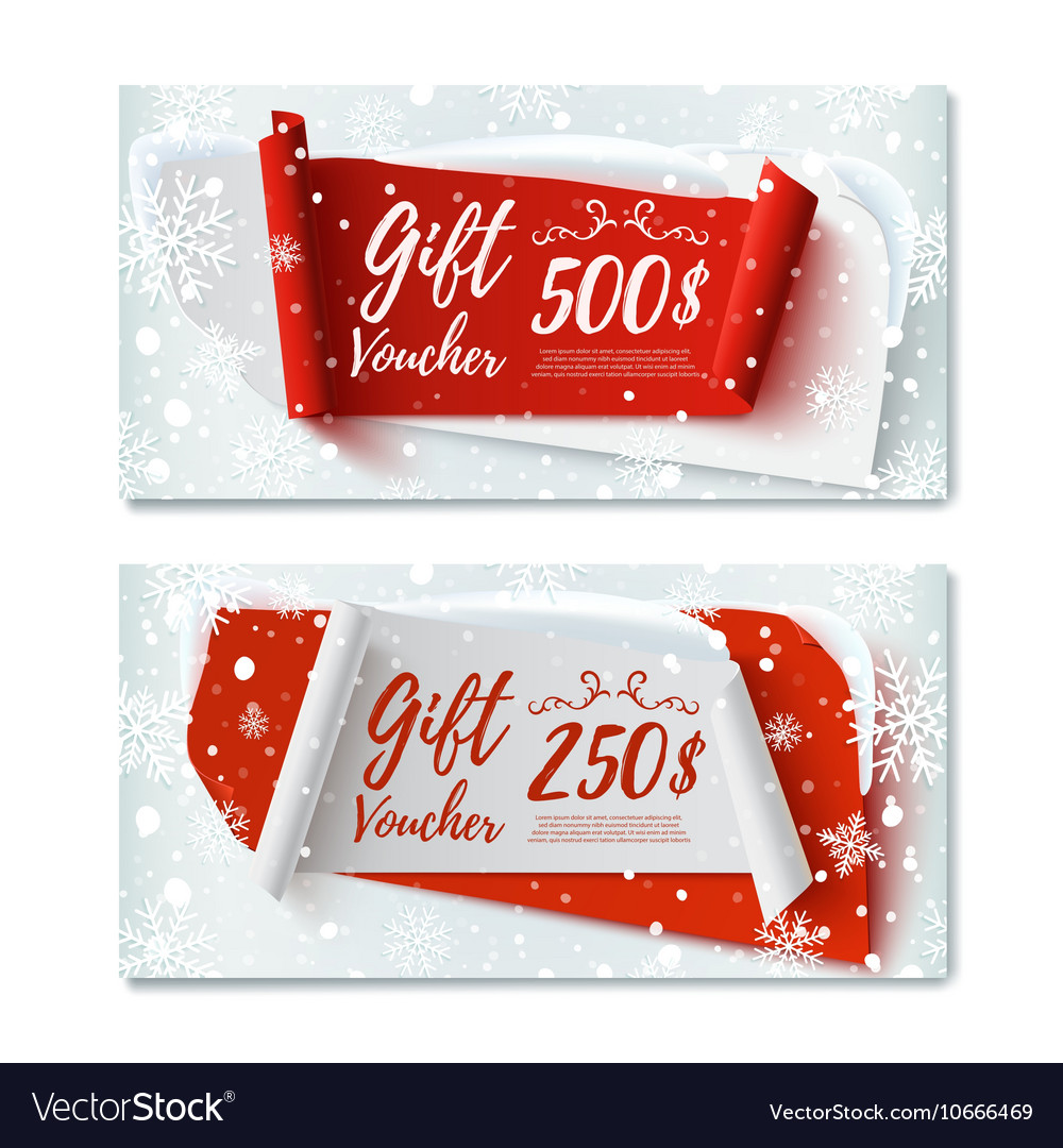 Two Christmas Time winter gift vouchers vector image