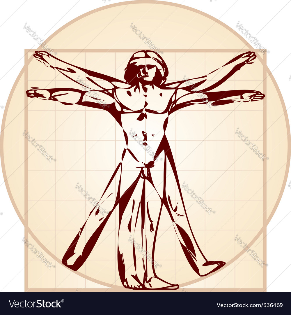 Vitruvian man stylized version vector image