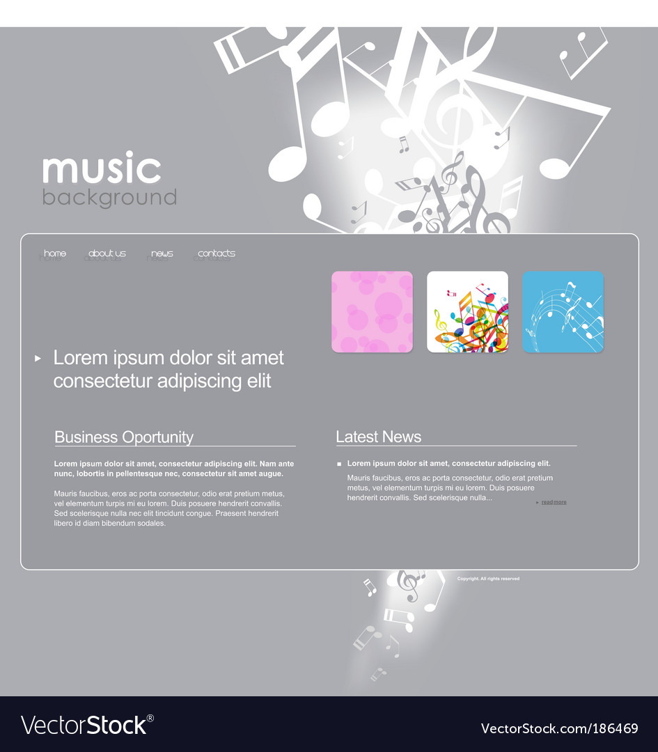 Website template with notes Royalty Free Vector Image