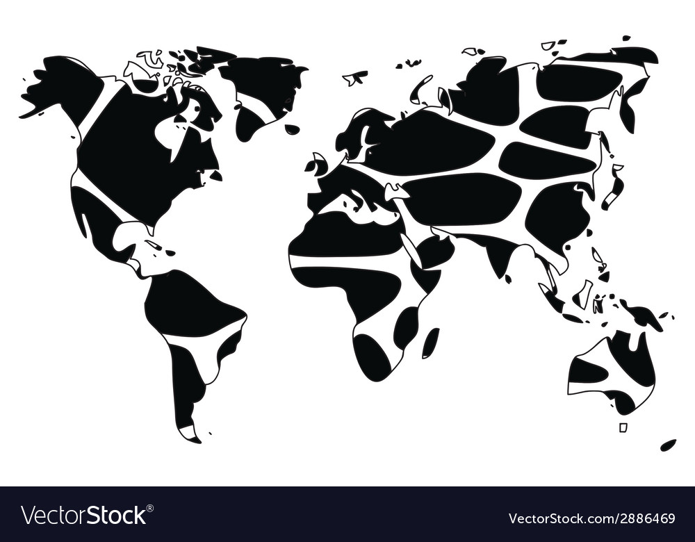 World map in animal print design black and white vector image gumiabroncs