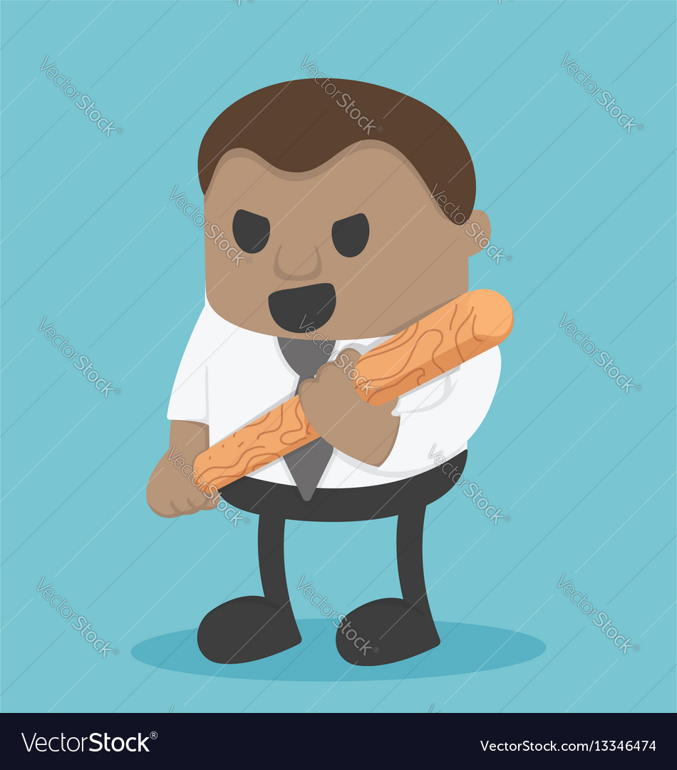 African businessman holding a baseball bat vector image