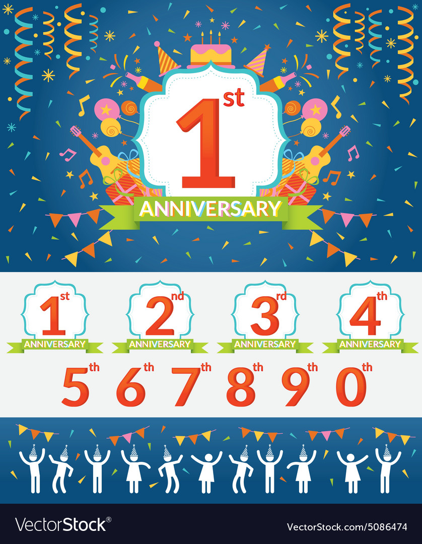 Anniversary Year Celebration and People Party Set