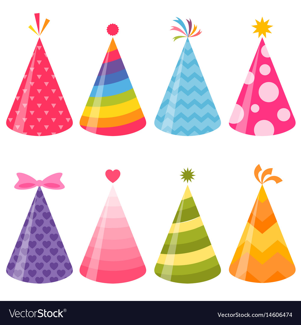 birthday party hats set royalty free vector image rh vectorstock com birthday hat vector free download birthday hat vector free download