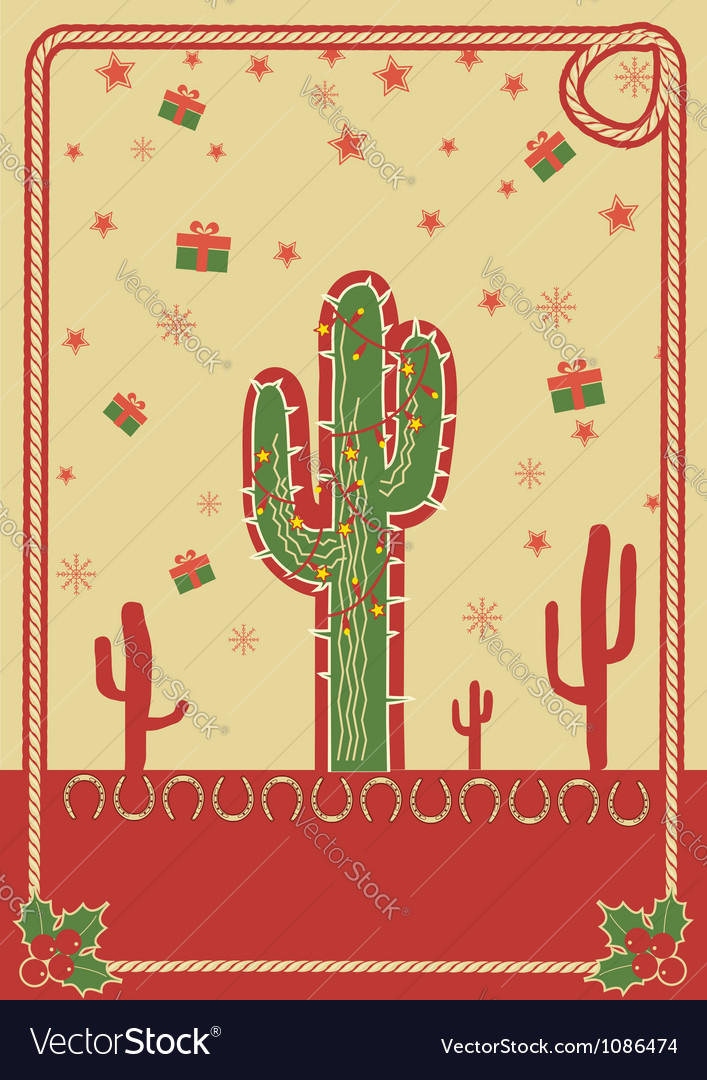 Cowboy christmas poster with cactus and rope frame vector image