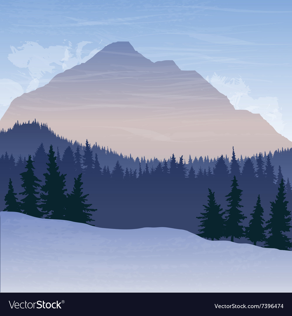 Mountain landscape with fir trees