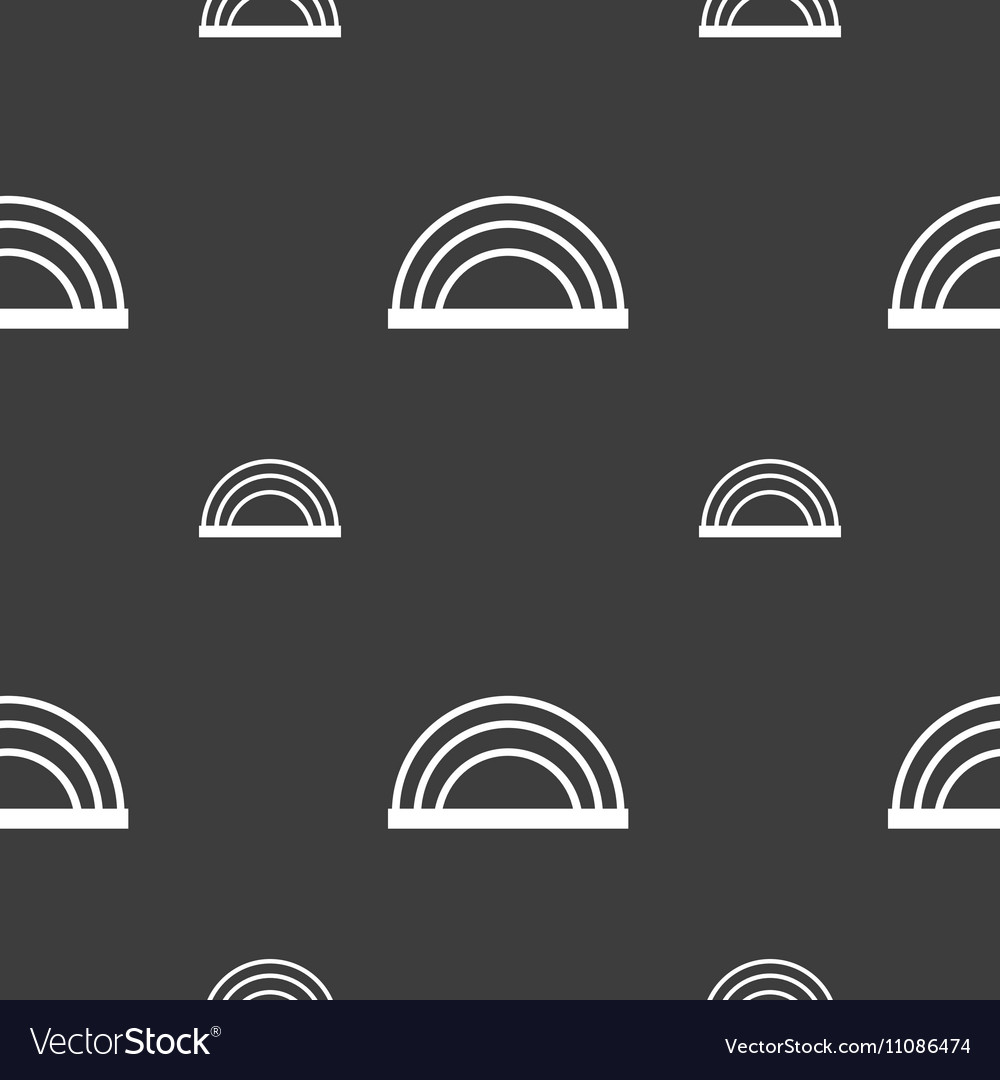 Rainbow icon sign Seamless pattern on a gray vector image