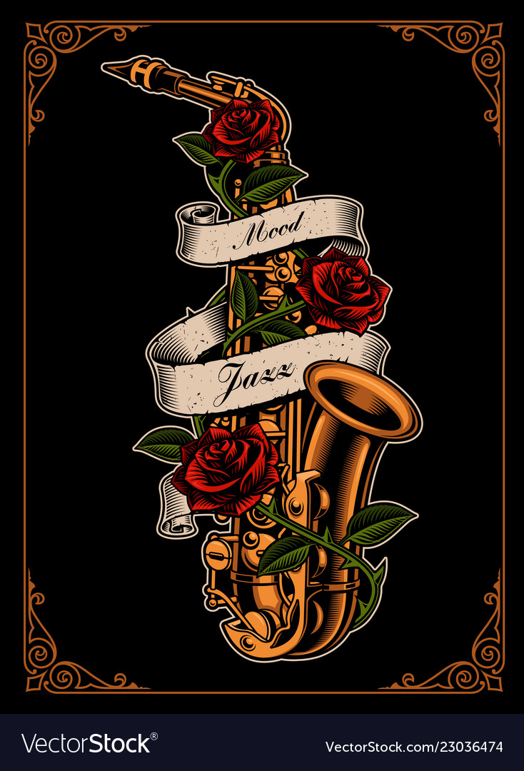 Saxophone with roses and ribbon
