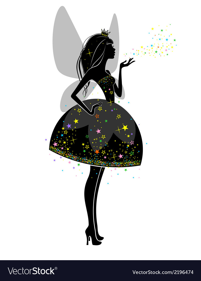 Silhouette of a beautiful princess vector image