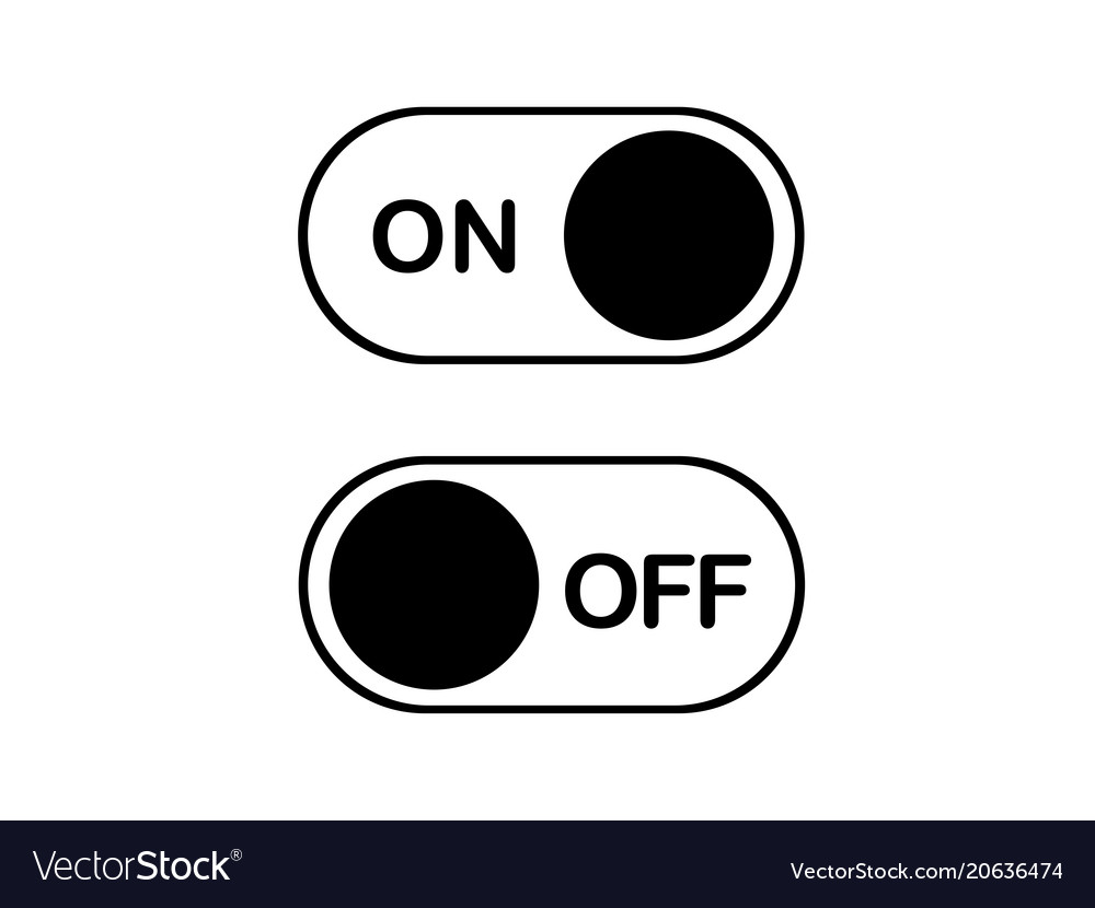 Simple flat icon on and off toggle switch button Vector Image