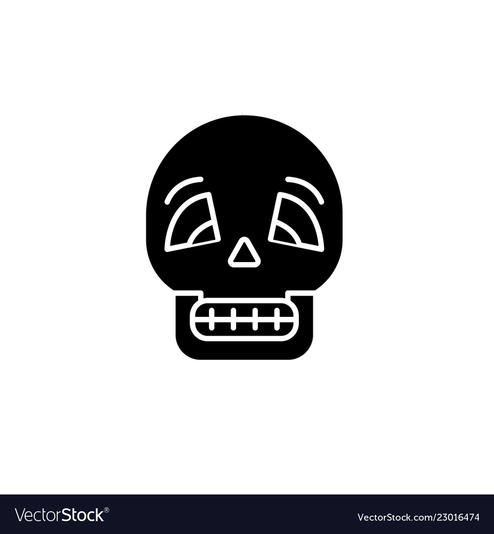 Skull black icon sign on isolated
