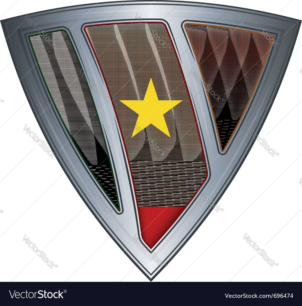 Steel shield with flag cameroon