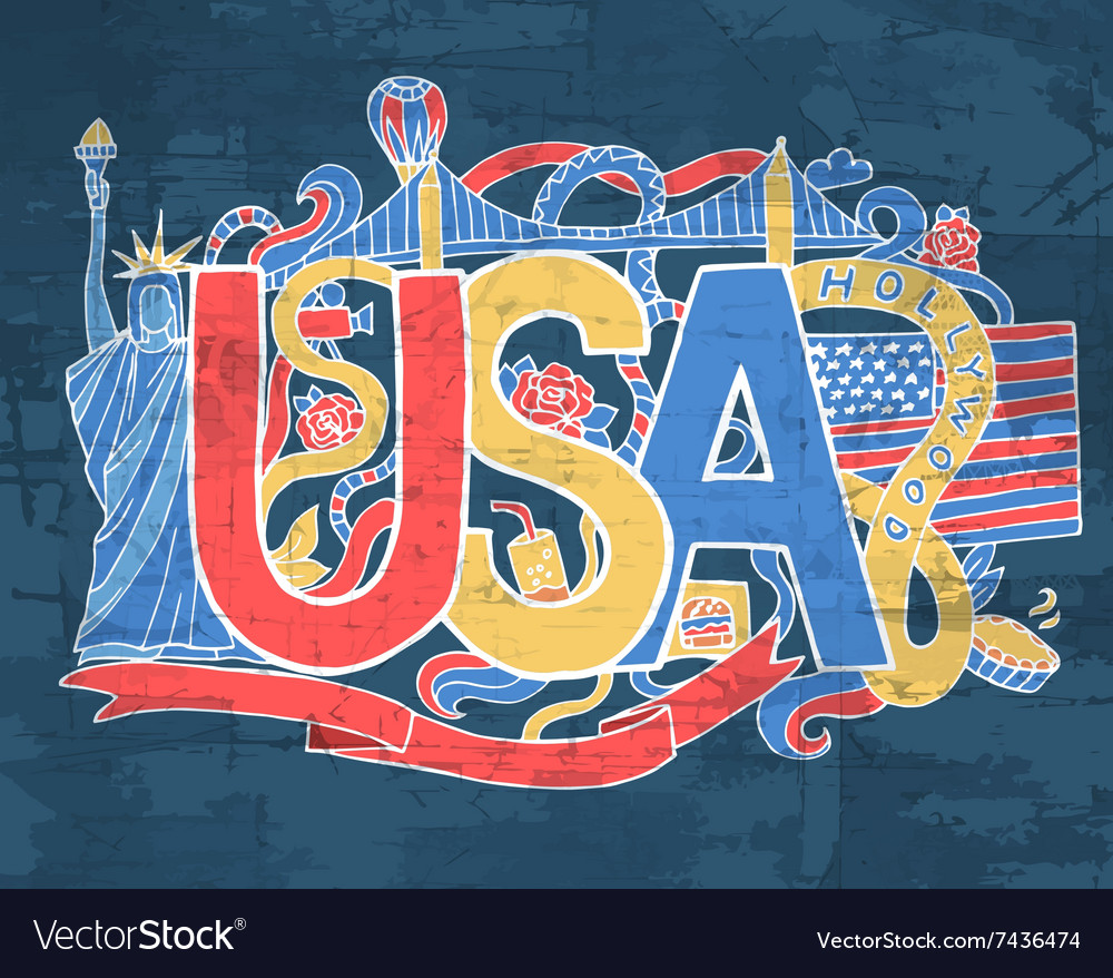 USA art abstract hand lettering and doodles