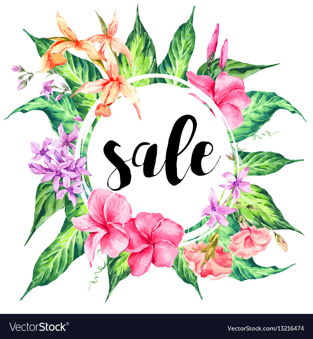 Vintage Floral Tropical Sale Card Vector Image