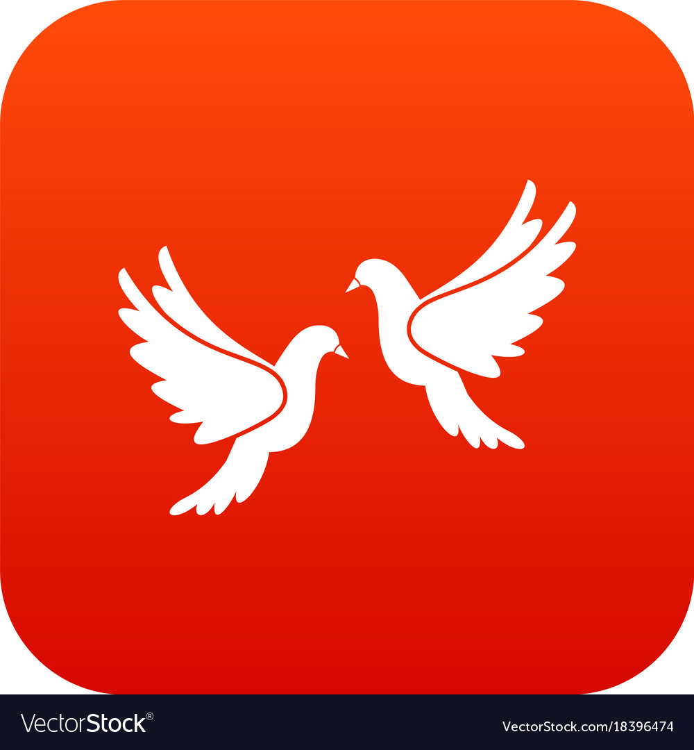 Wedding doves icon digital red Royalty Free Vector Image