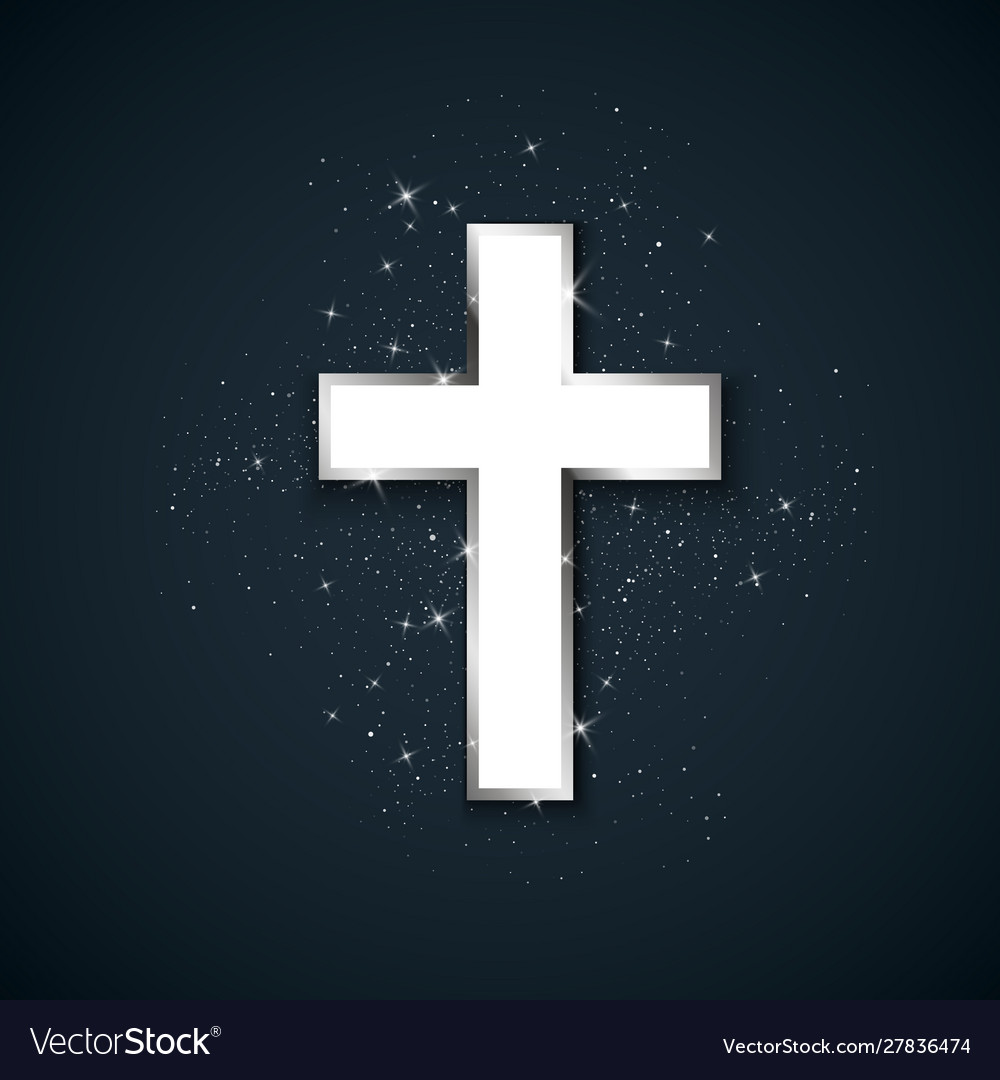 White cross with silver stroke symbol of