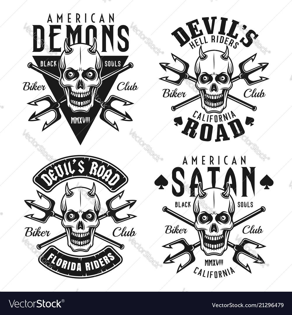 Biker club emblems with horned skull