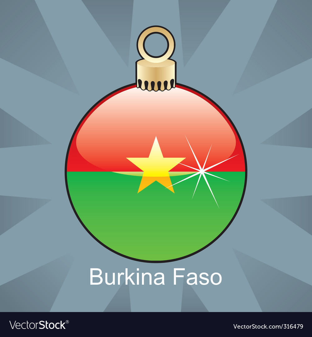 illustration of isolated burkina faso flag in christmas bulb shape