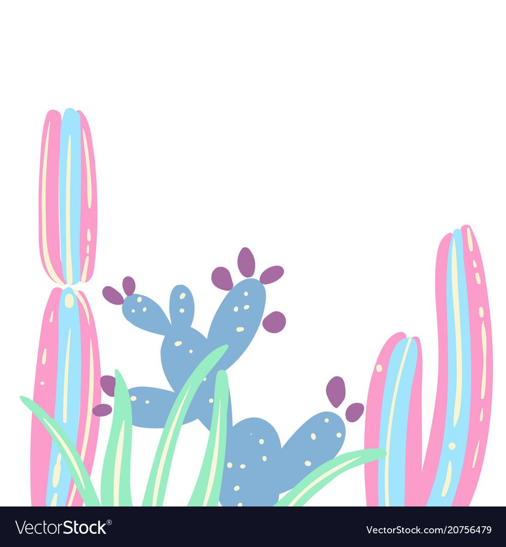 Cactus set creative card