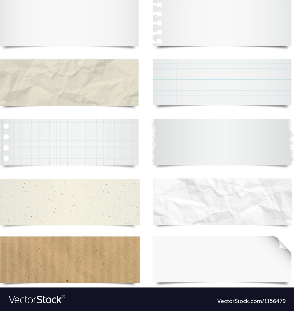 Collection of note papers background eps 10 vector image