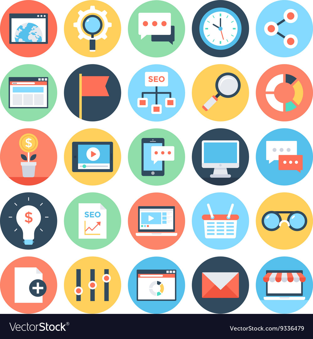 Digital Marketing Icons 3 Royalty Free Vector Image
