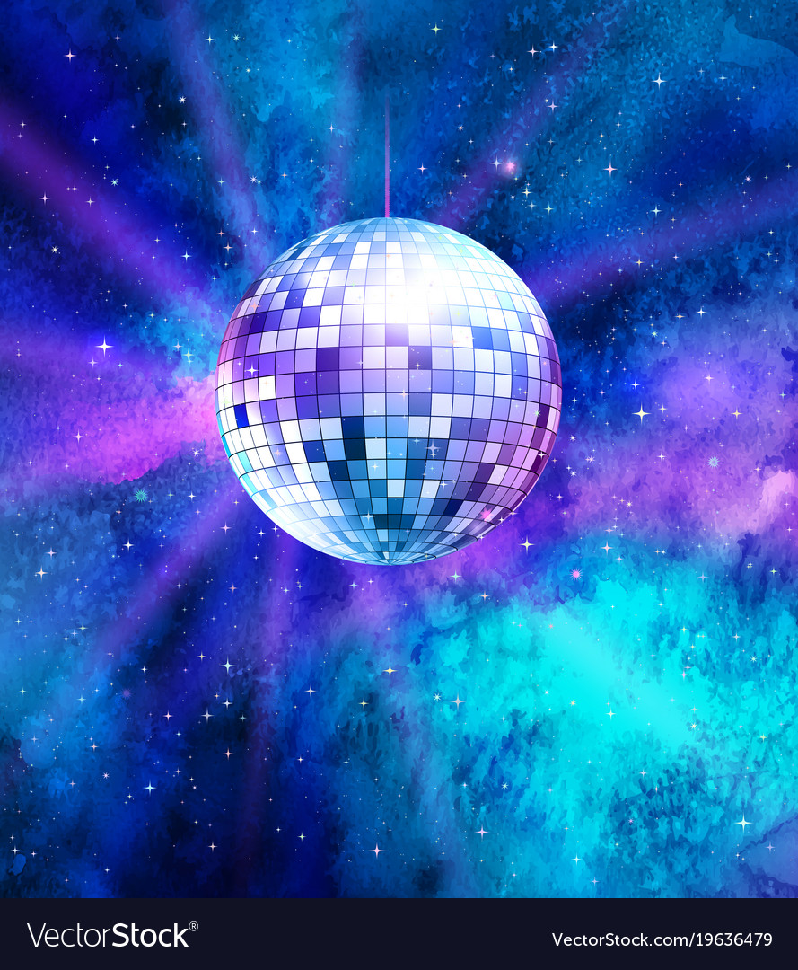 Disco ball on space background vector image