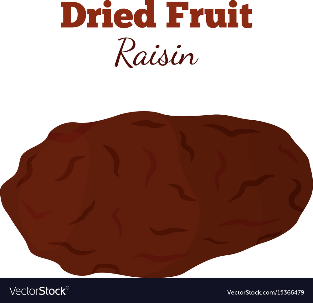 Dried fruit - raisin made in cartoon flat style