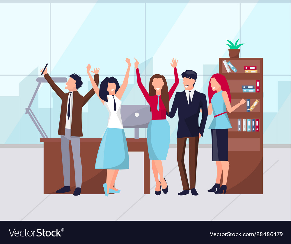 Happy Workers In Office Celebration Success Vector Image