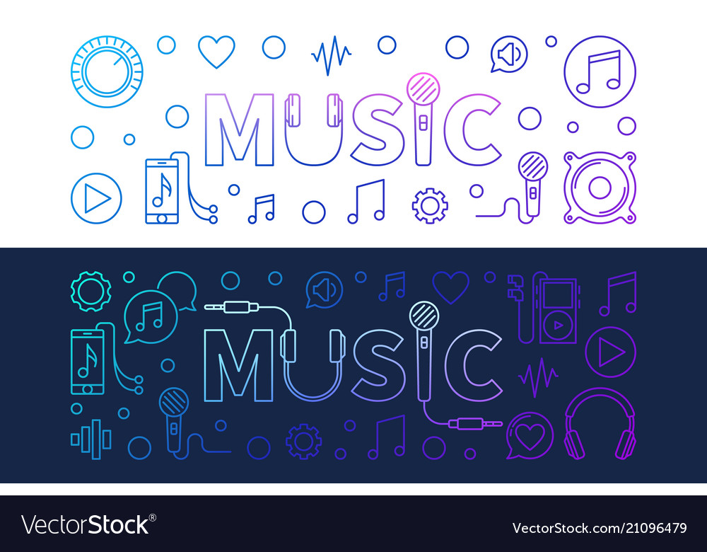 Music modern colored banners in outline