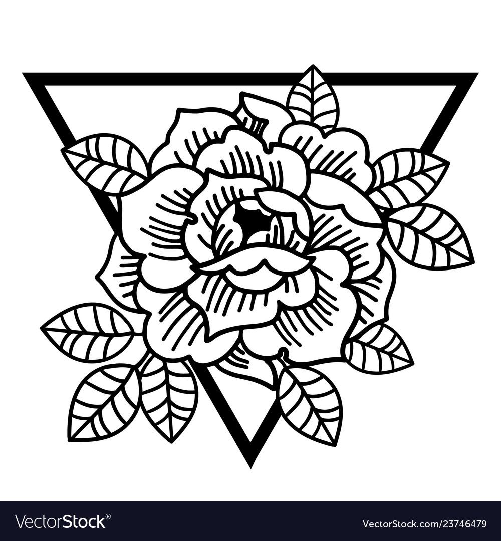 Rose flower with sacred geometry frametattoo