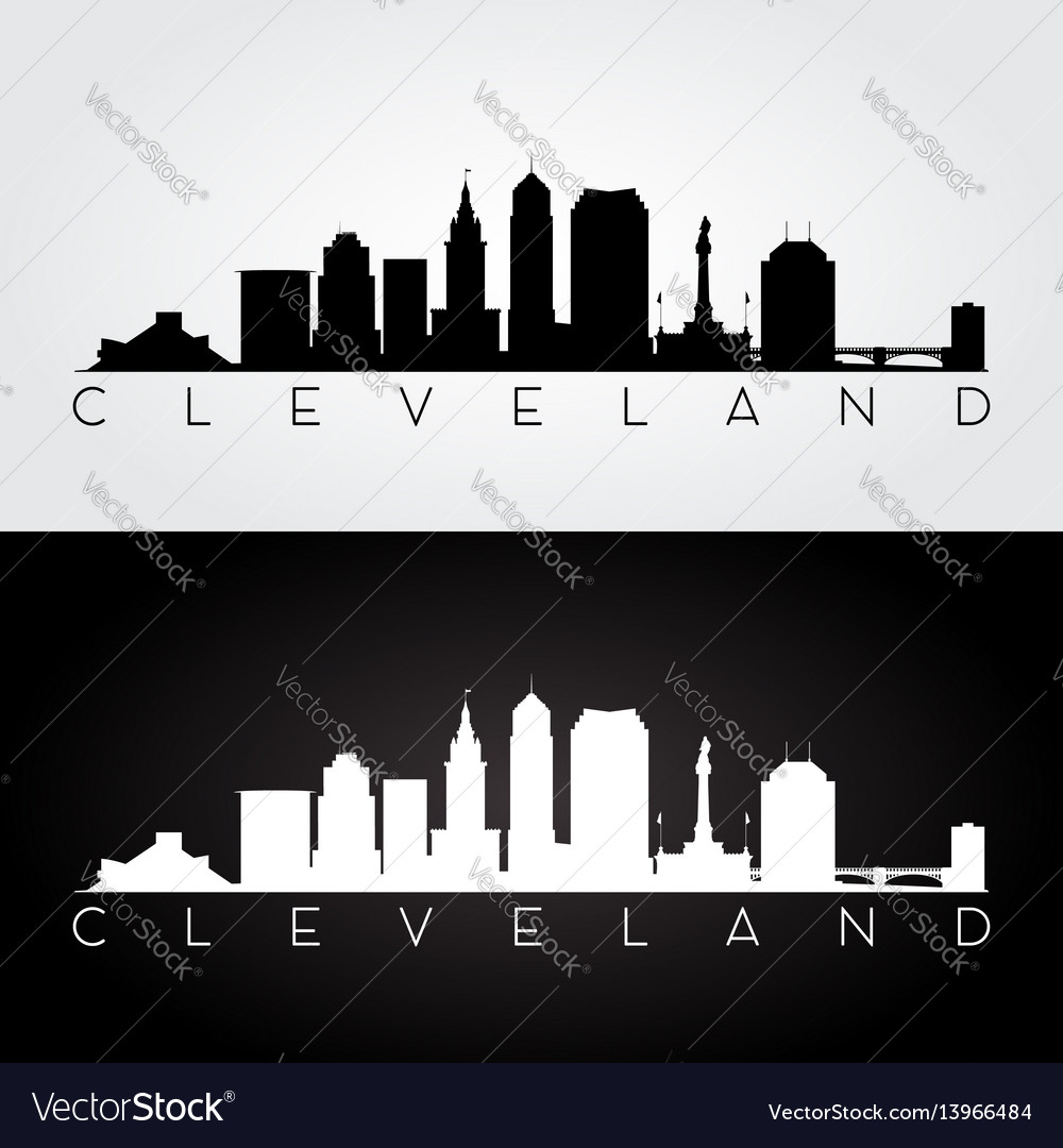 Cleveland usa skyline and landmarks silhouette
