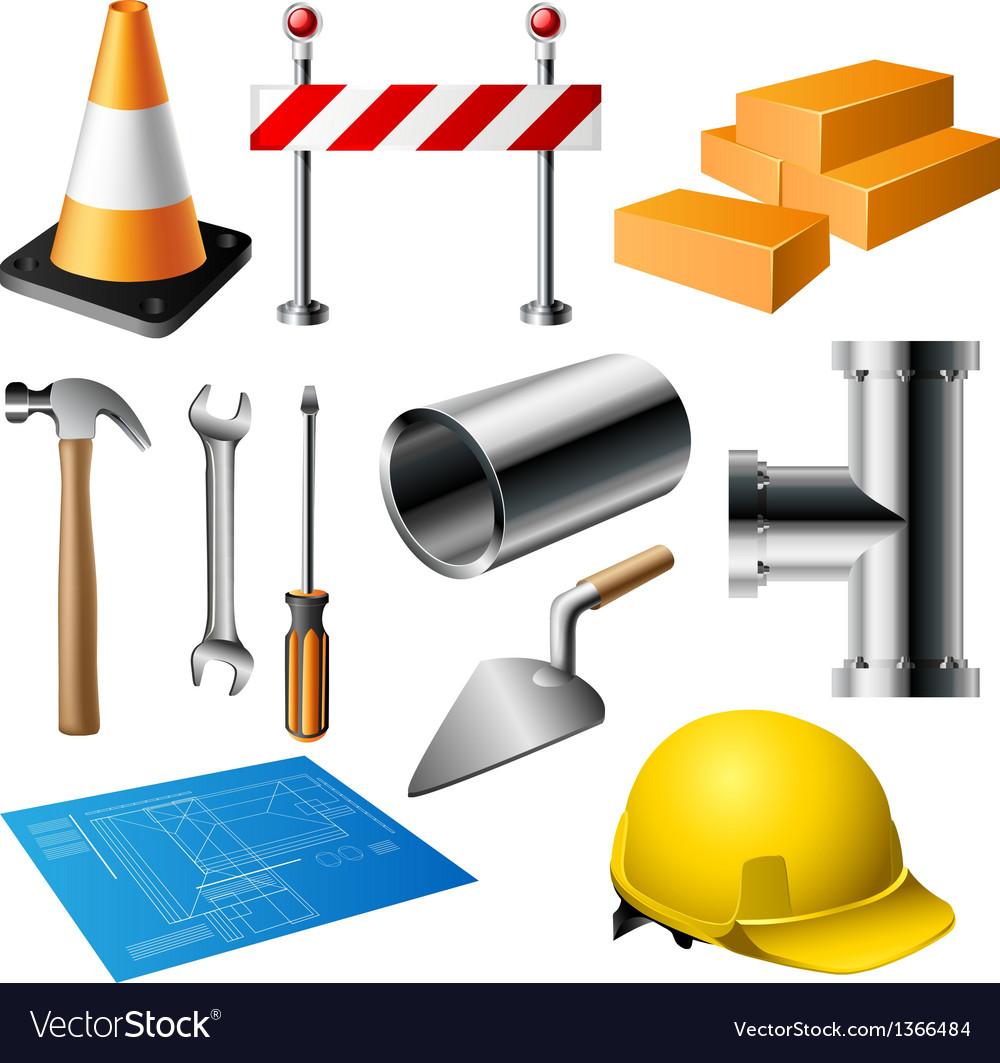 Construction item set vector image