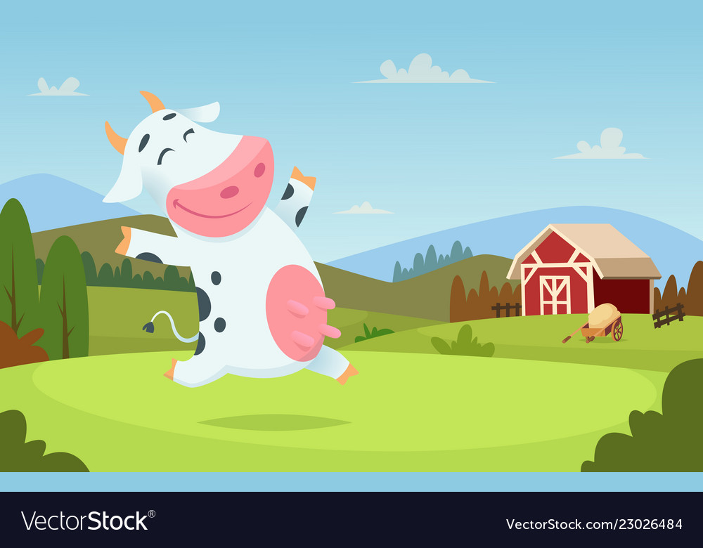 Cow at farm field ranch milk animals eating and