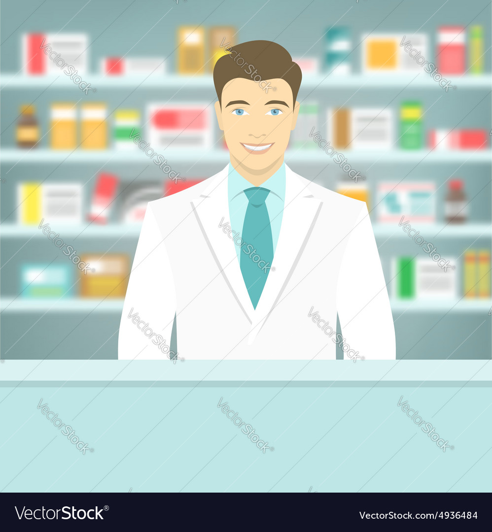 Flat style young pharmacist at pharmacy opposite