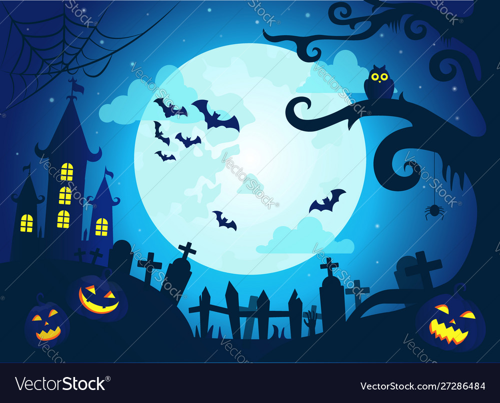 Halloween background with scary castle pumpkins