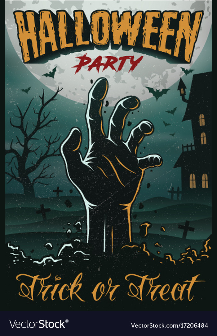 halloween party poster with zombie hand house vector image rh vectorstock com halloween party poster background halloween party poster background