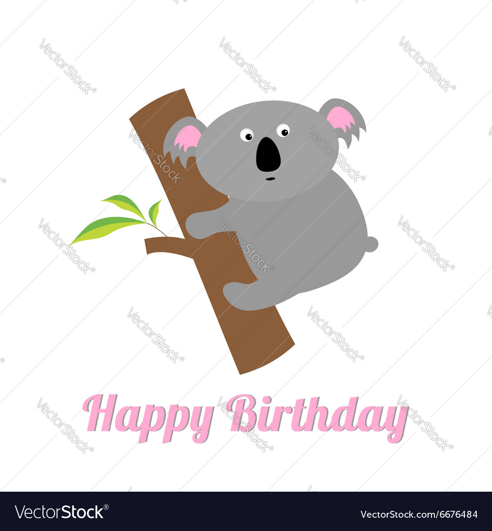 Happy birthday card with cute koala baby