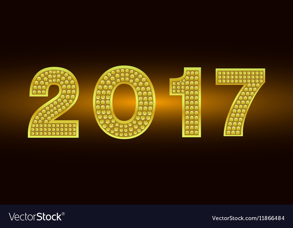 Happy New Year 2017 background Gold