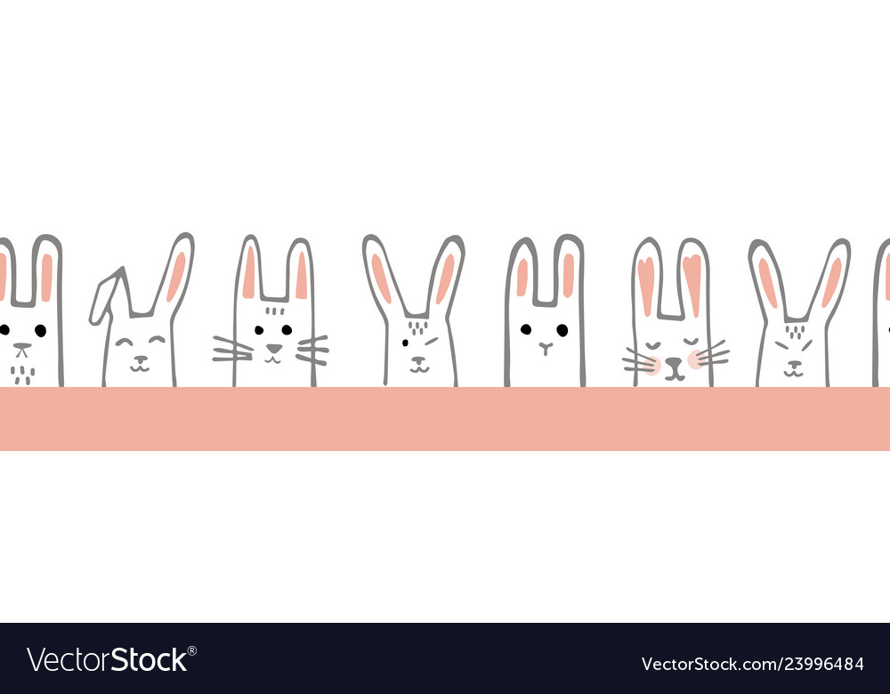 Seamless horizontal pattern with bunny faces