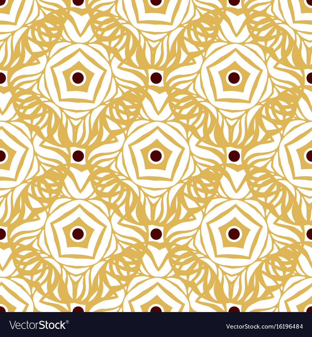 Seamless pattern with gold ethnic ornament