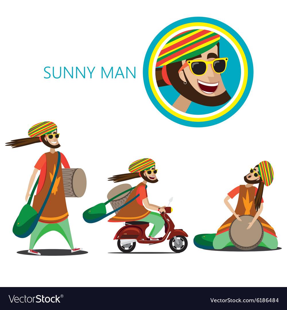 Set of sunny man vector image