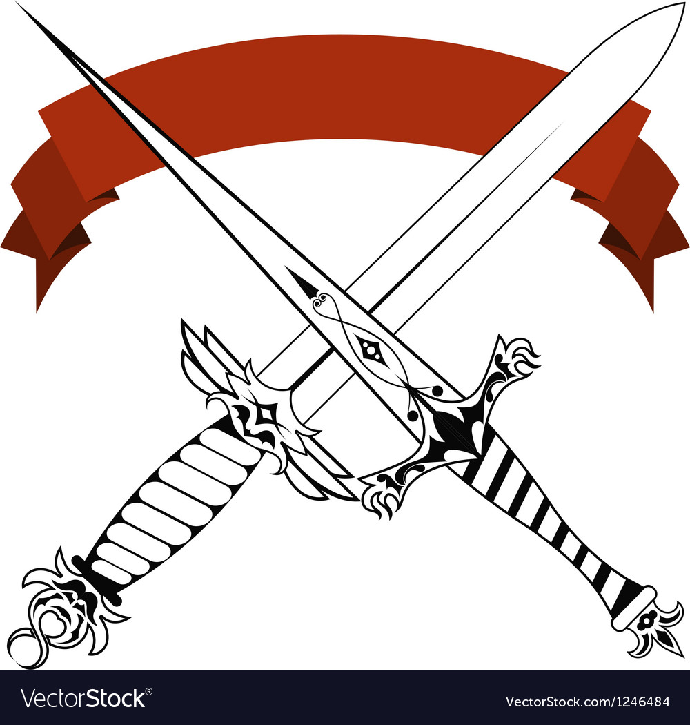 Vintage crossed daggers and red tape Tattoo vector image