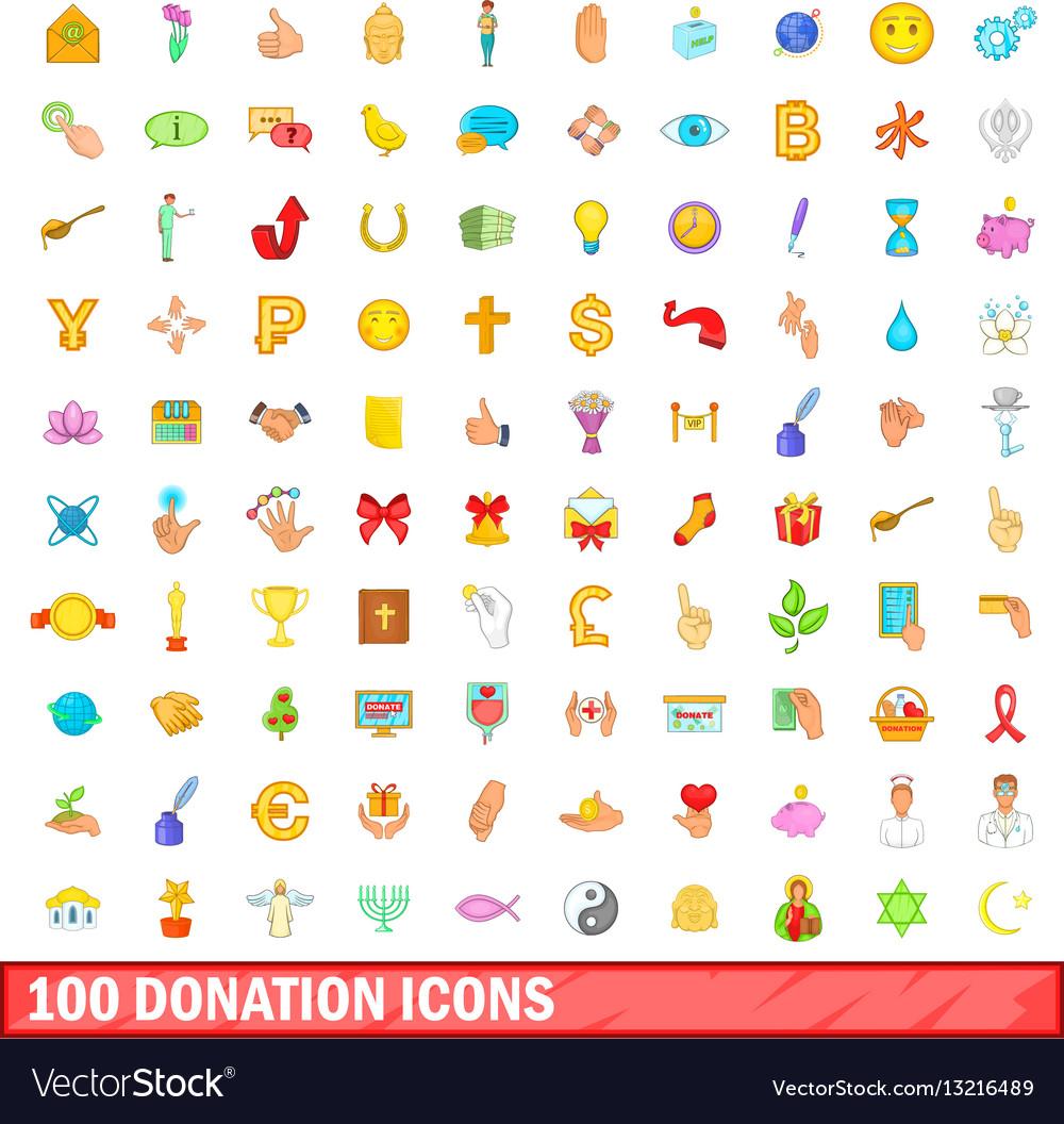 100 donation icons set cartoon style