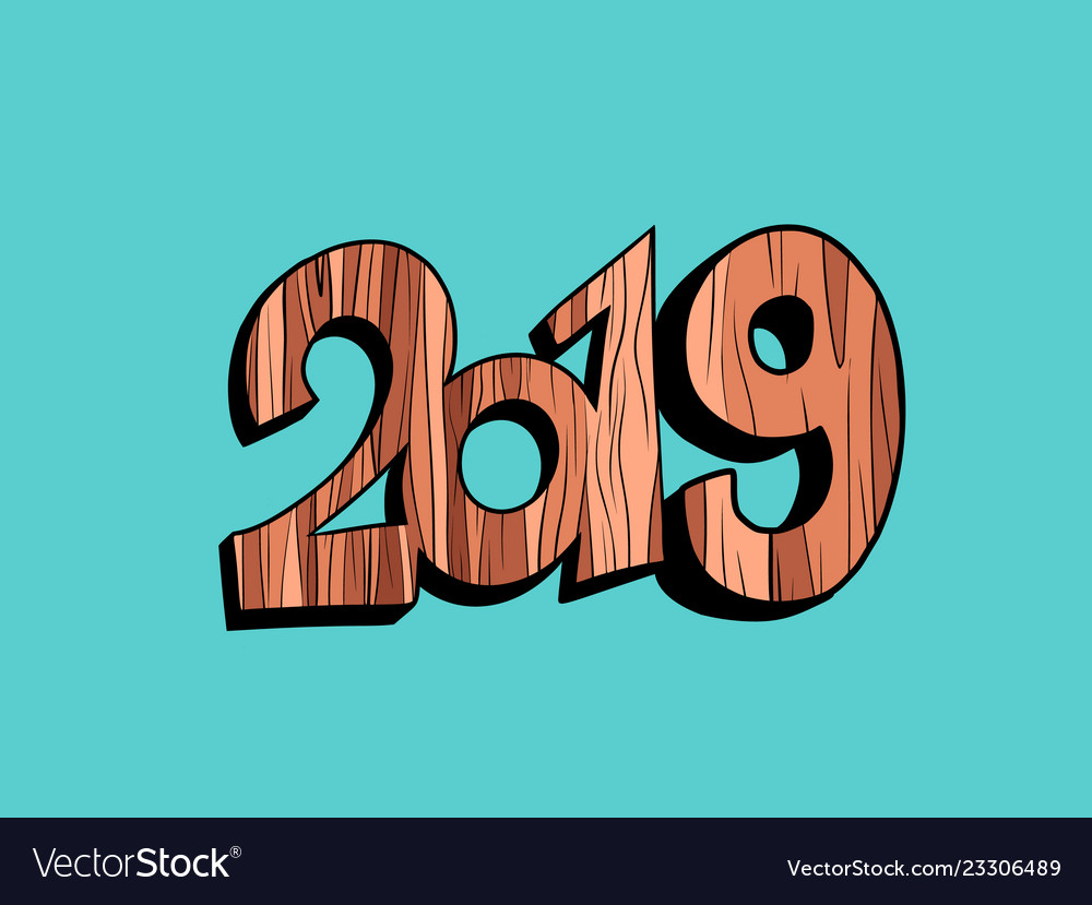 2019 happy new year wooden background
